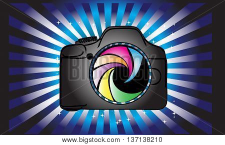 Photography logo design.Digital camera on abstract background