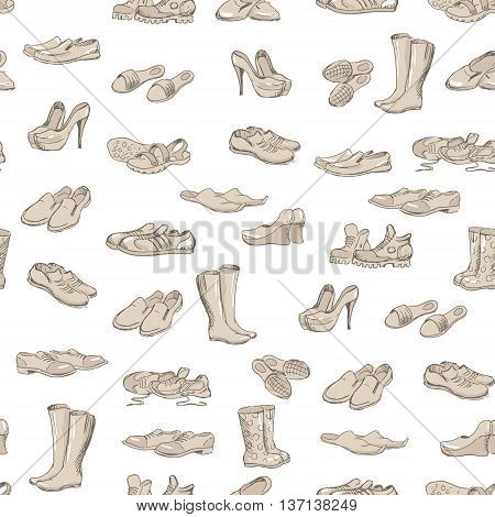 Hand drawing various types of different footwear. Shoes icons sketch male and female shoes sandals boots moccasins rubber boots and else. Vector illustration of shoes sketch seamless background.