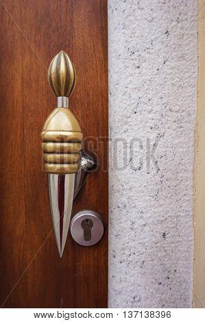 Modern wooden entrance door with antique door handle