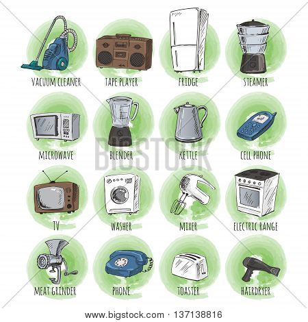 Sketches of household appliances on a wooden background can be used as an icons or other design. Vector illustration.