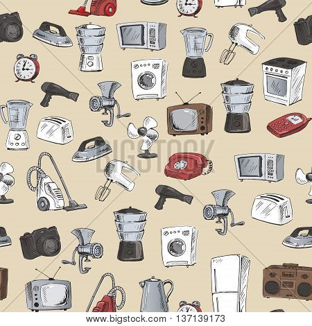 Hand Drawn Household Appliances Seamless