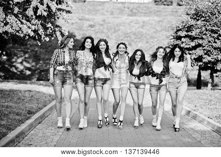 Seven Happy And Sexy Girls On Short Shorts Posed And Having Fun On Road At Park On Bachelorette Part