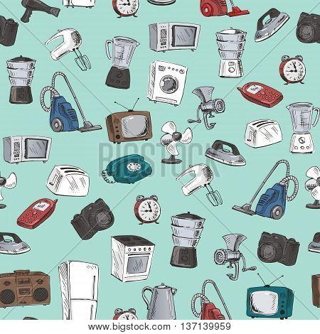 Hand Drawn Household Appliances Seamless