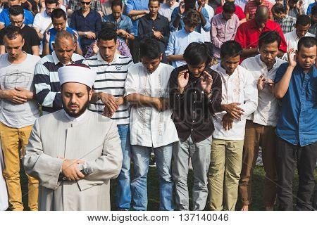 Muslim People Celebrating Eid In Milan, Italy