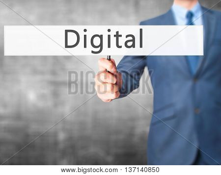 Digital - Businessman Hand Holding Sign