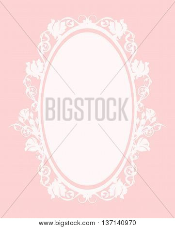 oval frame among roses - pastel colored vector decorative floral design