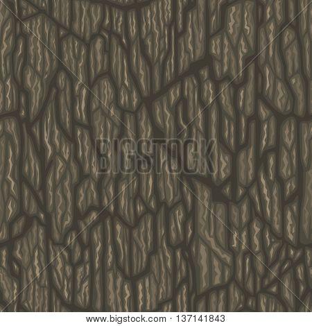 Seamless cartoon tree bark texture. Tileable vector illustration.