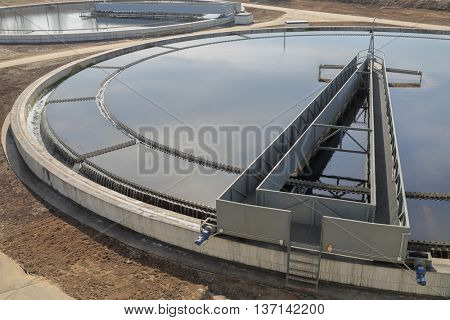 Biological wastewater treatment is carried out in aeration tanks of propellant. Along rails in circle rotates sludge scraper - it separates sludge, primary settler