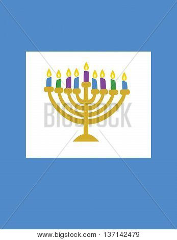 Gold Menorah Vector with Multi-colored candles with flames