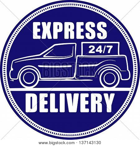 Express delivery 24/7 blue design for your application or logo with silhouette of pickup truck