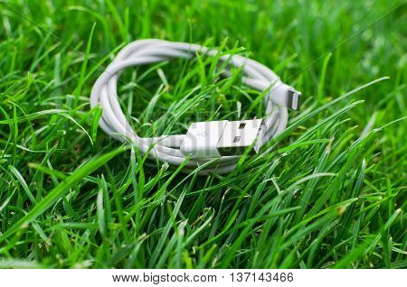 White USB cable on grass detail ready