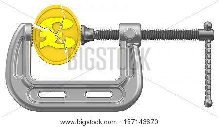 The economic crisis of the Great Britain. Cracked gold coin with the symbol of the pound sterling is clamped in the clamp. The concept of financial crisis. Isolated. 3D Illustration