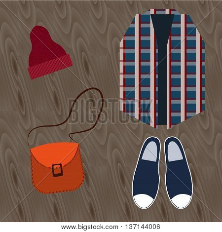 Fashion still life Still life of hipster clothing. Urban fashion: espadrilles, hat, handbag, plaid shirt. Top view Flat design