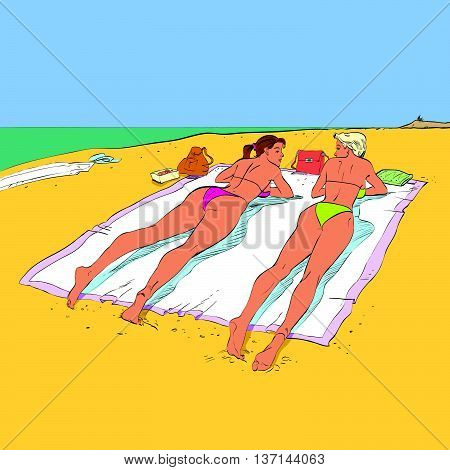 Two girlfriends sunbathing on the beach hands drawn vector illustration. The rest of the sea
