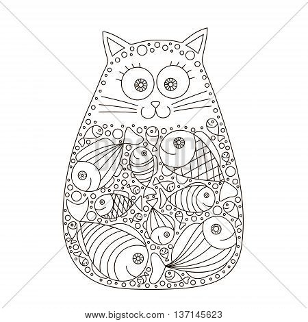 Cat and fish. Cute vector hand drawn cat with fish in stomach. Doodle cat for kids design. Isolated. Black and white colors. Fun cat for coloring book. Contour drawing.