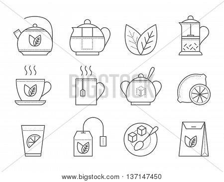 Tea icon set. Thin line vector illustration. Black tea icon on white background