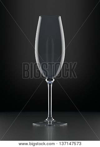 Empty Champagne Glass on black background. Alcoholic cocktail glassware. 3D illustration.