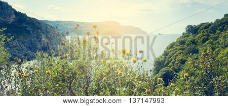 Summer holiday background with beautiful sea landscape