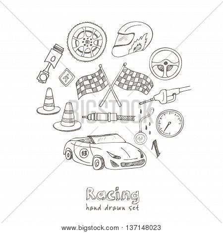 Racing auto items sketch icons hand drawn vector set with racing flags first place prize cup medal sport car isolated vector illustratio