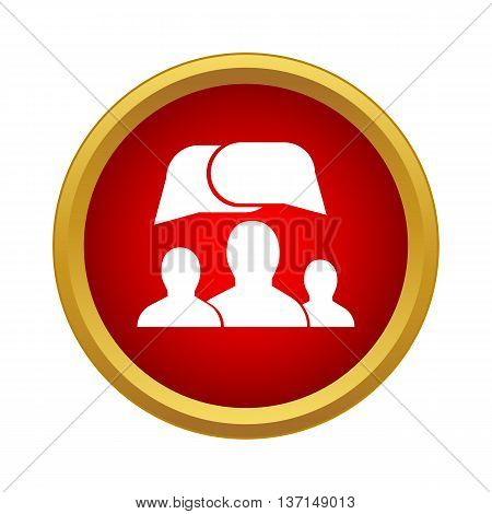 People and dialog speech bubbles icon in simple style on a white background
