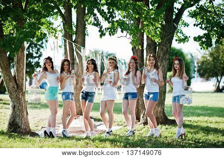 Seven Happy And Sexy Girls On Short Shorts And White Shirts Posed At Sunset Park On Bachelorette Par
