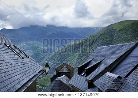 Slate roofs on the houses of a village in the Pyrenees