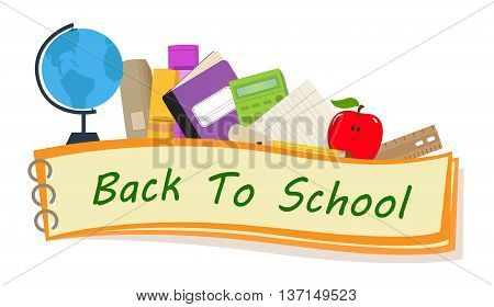 Back to school banner with school items. Eps10