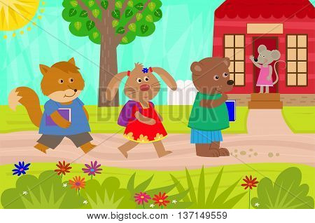 Cute fox, rabbit and a bear are going back to school. Eps10