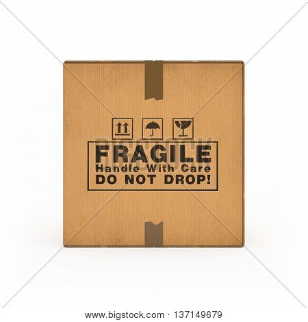 Corrugated cardboard boxes on white background 3d rendering