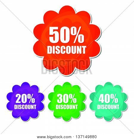 20, 30, 40, 50 percentages spring discount banners - text in four colors flowers labels, business shopping seasonal concept, flat design, vector