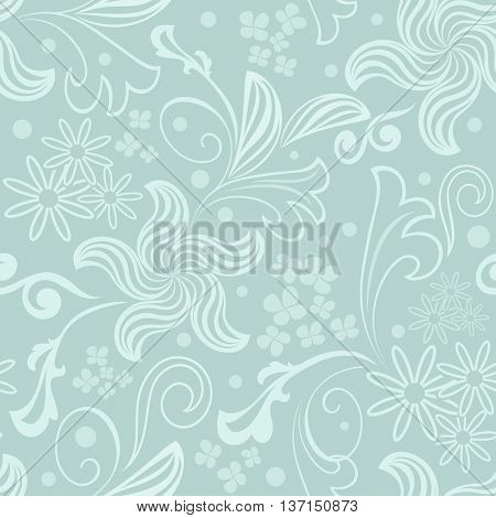 Seamless bluish green floral vector background.