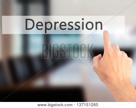 Depression - Hand Pressing A Button On Blurred Background Concept On Visual Screen.