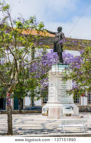 Aveiro Portugal - June 22 2016. Jose Estevao Magalhaes statue in Praca da Republica of Aveiro Portugal.