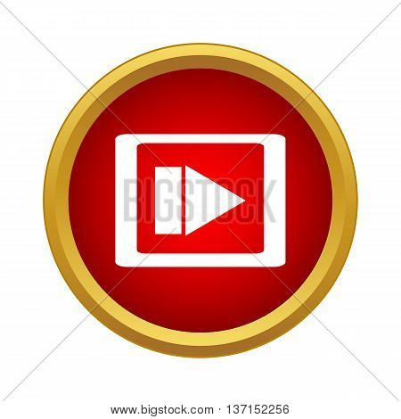 Video movie media player icon in simple style on a white background