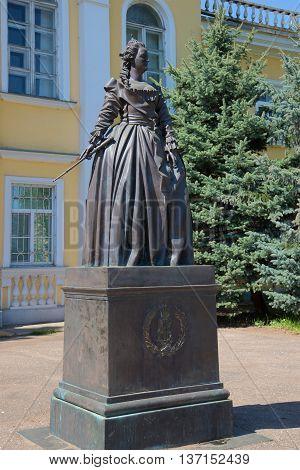 PSKOV REGION, RUSSIA - MAY 08, 2016: Monument to Catherine the great closeup. The main landmark of the city Novorzhev, Pskov region, Russia
