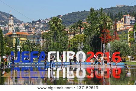 Uefa Euro 2016 Letters At Promenade Du Paillon In Nice, France