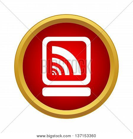 Laptop and wi fi sign icon in simple style on a white background