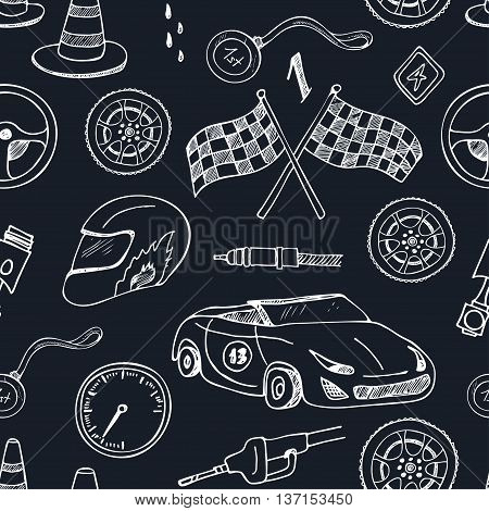 Seamless pattern with Racing auto items sketch icons hand drawn vector set with racing flags first place prize cup medal sport car isolated vector illustratio