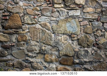 rural stonewall/Typical stone wall in the Ananuri castle