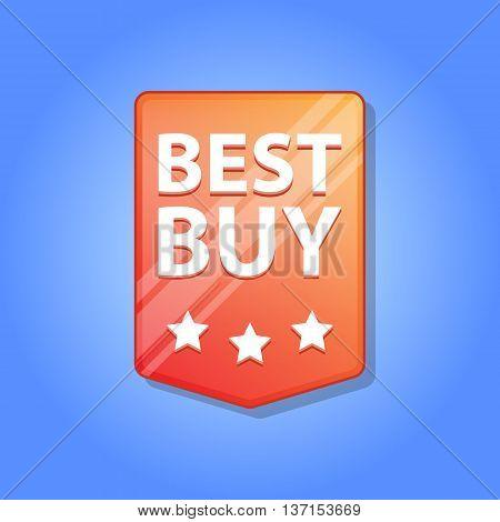 Best buy Label. Vector illustration. Red color. Blue background.
