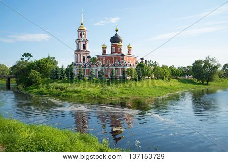 The view of the resurrection Cathedral in june on a sunny day. Staraya Russa, Russia