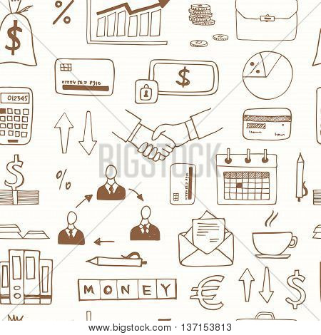 Seamless pattern with doodle sketch business icons isolated vector illustration