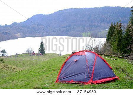 Tent On Mountain Lake