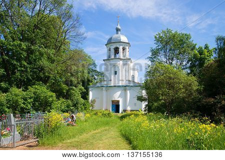 NOVGOROD REGION, RUSSIA - JUNE 02, 2016: View of assumption Church on a sunny june day. Religious landmark  of the Korosten, Novgorod region, Russia