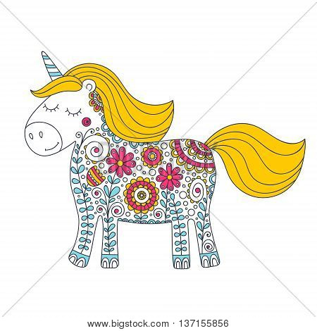 Doodle unicorn. Hand drawing cute unicorn with color floral ornament. Nice pony silhouette with flowers and bubbles. Sweet kids vector illustration.