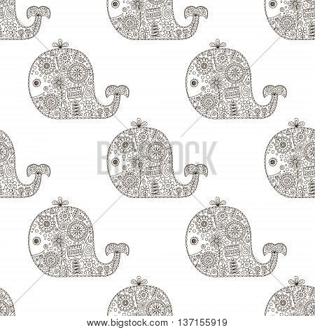 Cute doodle whale. Vector seamless pattern with hand drawn whale with doodle floral ornament and bubbles. Childish background with animals silhouette with flowers and dots. On white backdrop.