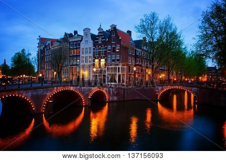 famous canals of Amsterdam, the Netherlands, toned