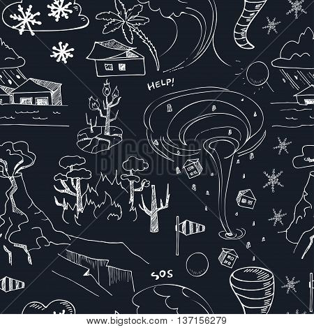 Seamless pattern with doodle sketch Natural disasters earthquake tsunami volcanic tornado and other cataclysm. Isolated vector illustration