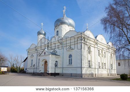The old Pokrovsky Cathedral in the monastery in Veliky Novgorod, Russia