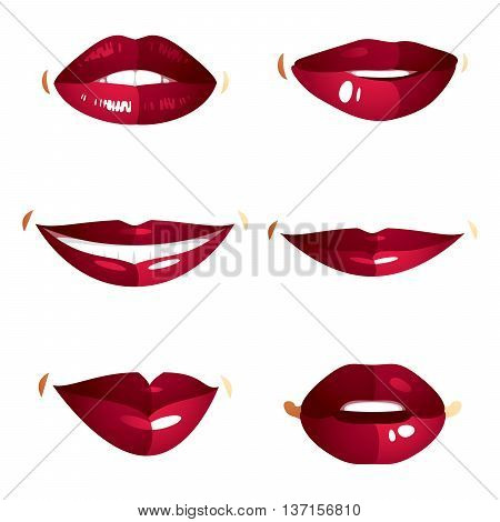 Set of vector sexy female red lips expressing different emotions and isolated on white background. Face parts shiny women lips design elements.